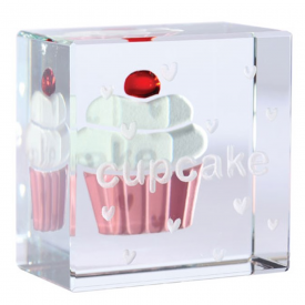 Text Token Cupcake in Glass