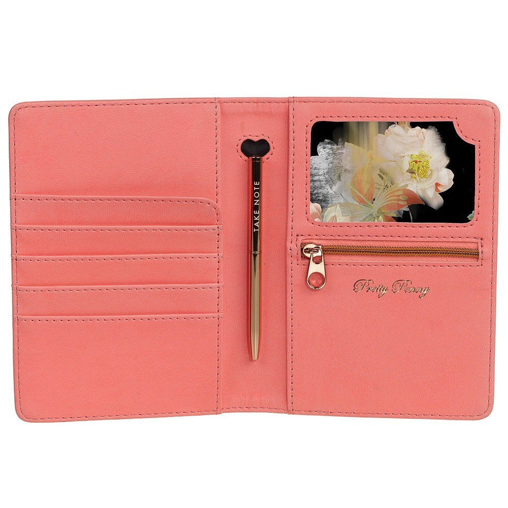 c81e0b311e3557 Ted Baker Coral Travel Document Holder with Pen from Flamingo Gifts.