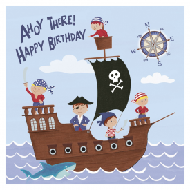 Pirate Ship Birthday Card