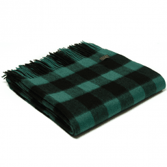 Lambswool Chequered Board Emerald Throw