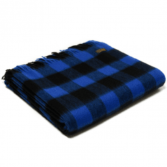 Lambswool Chequered Board Royal Blue Throw