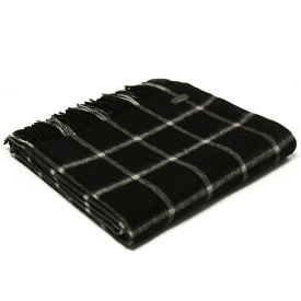 Lambswool Chequered Check Black Throw