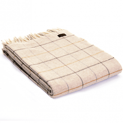 Merino Wool Check Natural Throw