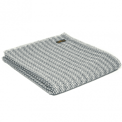 Organic Cotton Herringbone Throw, Navy