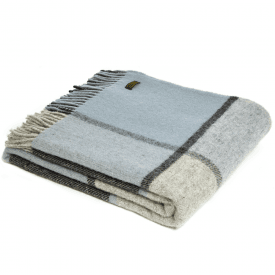 Pure New Wool Block Check Duck Egg Throw