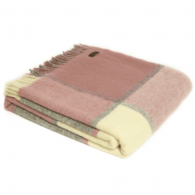 Pure New Wool Block Check Dusky Pink & Charcoal Throw
