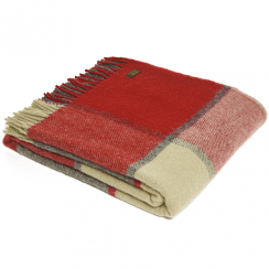 Pure New Wool Block Check Red & Slate Throw