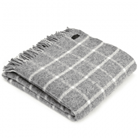 Pure New Wool Chequered Check Grey Throw