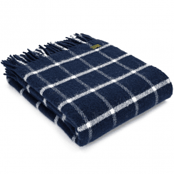 Pure New Wool Chequered Check Navy Throw