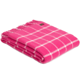 Pure New Wool Chequered Check Pink Throw