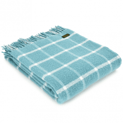 Pure New Wool Chequered Check Spearmint Throw