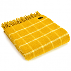 Pure New Wool Chequered Check Yellow Throw