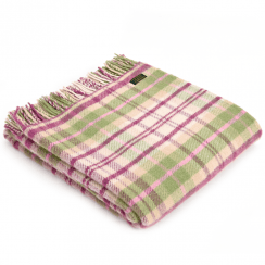 Pure New Wool Cottage Pink Check Throw