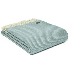 Pure New Wool Diagonal Stripe Petrol Throw
