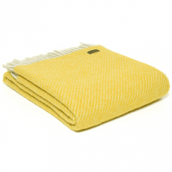 Pure New Wool Diagonal Stripe Yellow Throw