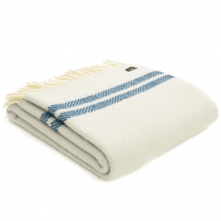 Pure New Wool Fishbone 2 Stripe Glacier & Ink Throw
