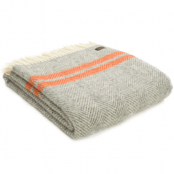 Pure New Wool Fishbone 2 Stripe Grey & Pumpkin Throw
