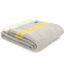 Pure New Wool Fishbone 2 Stripe Grey & Yellow Throw