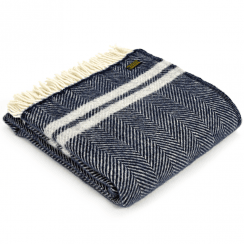 Pure New Wool Fishbone 2 Stripe Navy & Silver Grey Throw