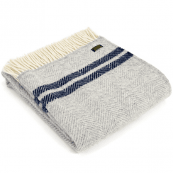 Pure New Wool Fishbone 2 Stripe Silver Grey & Navy Throw