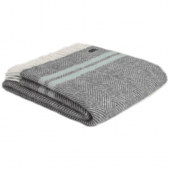 Pure New Wool Fishbone 2 Stripe Slate & Ocean Throw
