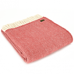 Pure New Wool Fishbone Cranberry Throw