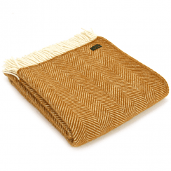 Pure New Wool Fishbone English Mustard Throw
