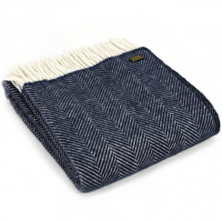 Pure New Wool Fishbone Navy Throw