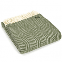 Pure New Wool Fishbone Olive Throw