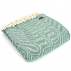 Pure New Wool Fishbone Sea Green Throw