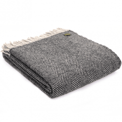 Pure New Wool Herringbone Charcoal & Silver Throw