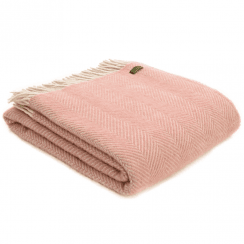 Pure New Wool Herringbone Dusky Pink & Pearl Throw