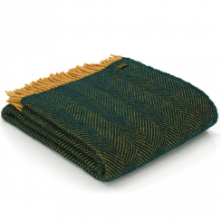 Pure New Wool Herringbone Emerald & Mustard Throw