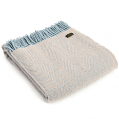 Pure New Wool Herringbone Fawn & Duck Egg Throw