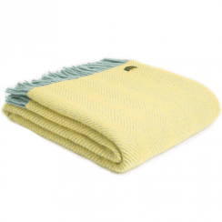 Pure New Wool Herringbone Lemon & Ocean Throw