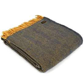 Pure New Wool Herringbone Navy & Mustard Throw