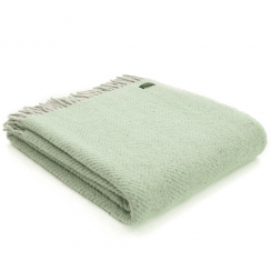 Pure New Wool Herringbone Silver Grey & Laurel Green Throw