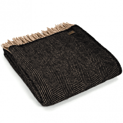 Pure New Wool Herringbone Vintage Throw