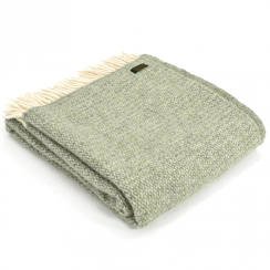 Pure New Wool Illusion Green & Grey Throw