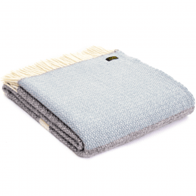 Pure New Wool Illusion Panel Grey & Duck Egg Throw