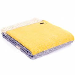 Pure New Wool Illusion Panel Grey Yellow Throw