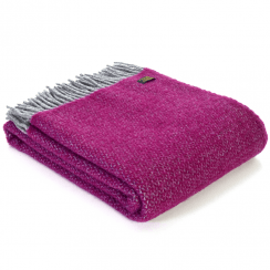 Pure New Wool Illusion Silver & Grape Throw