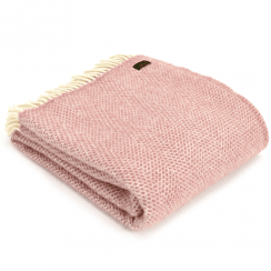 Pure New Wool Knee Lap Blanket, Beehive Dusky Pink