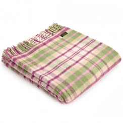 Pure New Wool Knee Lap Blanket, Check Cottage Pink