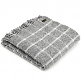 Pure New Wool Knee Lap Blanket, Chequered Check Grey