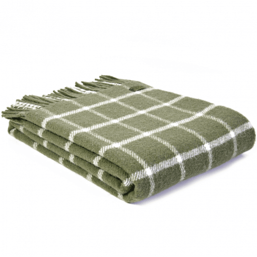 Pure New Wool Knee Lap Blanket, Chequered Check Olive