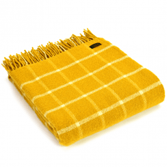 Pure New Wool Knee Lap Blanket, Chequered Check Yellow