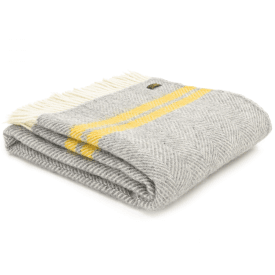Pure New Wool Knee Lap Blanket, Fishbone 2 Stripe Grey & Yellow