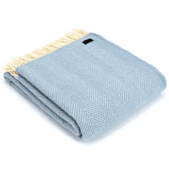 Pure New Wool Knee Lap Blanket, Fishbone Duck Egg