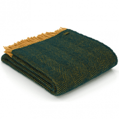 Pure New Wool Knee Lap Blanket, Herringbone Emerald & Mustard